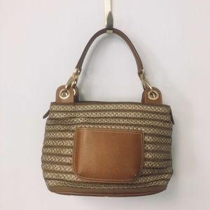 Eric Javits Tan Leather, Braided Straw Striped Bag
